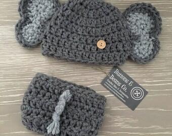 Elephant Hat, Newborn Baby Elephant Hat, Diaper Cover and Hat, Crochet Baby Elephant Hat, Elephant Photography Prop,  Baby Boy Hat, Girl Hat