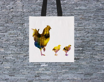 Hen Bag - Art Tote Bag - Art Market Bag - Fashion Tote