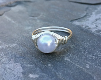Silver Wire Pearl Ring