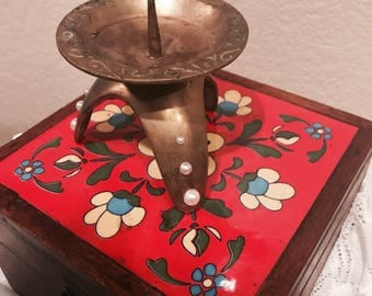 Brass and pearl vintage candle holder