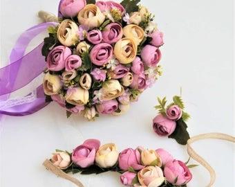 Wedding Bouquet, Bridal Bouquet, Bridesmaid Bouquet, Pink Yellow Roses Bouquet, Pink Yellow Bouquet, Wedding Package, Flower Bouquet