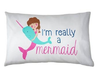 Pillow Case Cotton Standard Size I'm Really a Mermaid