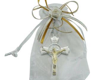 12 Pcs St. Benedict Crucifix Key Chain - Baptism Favors / First Communion Favors / Wedding Favors JK145