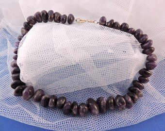 Vintage Amethyst Beads Nugget Necklace Choker February Birthstone