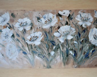 Soul notes. Original oil painting on canvas, Oil painting, abstraction, White flower, impasto art on canvas by Alekseenko 30x20 inches