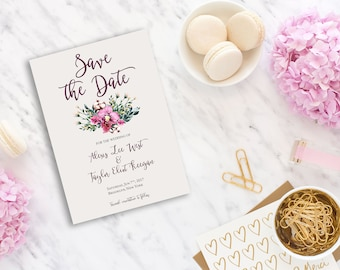 Save the Date Printable Floral Digital Wedding Pink Watercolor Orchid Invitation Save the Date Invite WS-001