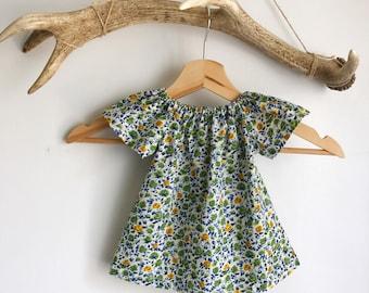 Baby girls summer dress in rose print  / Liberty print summer dress / floral baby girl dress