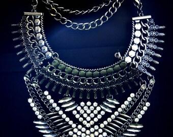Boho necklace Silver antique finish with stone embellishment