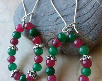 Earrings with rubies and emeralds Tibet silver natural raw elements
