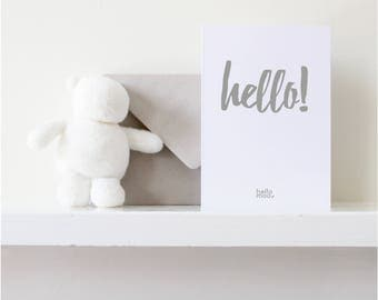 New baby card, baby shower, baby boy card, baby girl card - 'hello'-  mid grey on white
