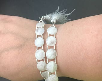 Rainbow Moonstone double drilled gemstone beads , 2 hole beads, 15 pcs, rainbow moonstone beads