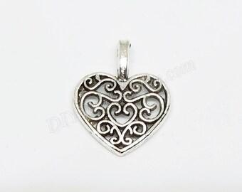 Filigree heart etsy filigree heart charms small filigree heart charms heart pendant antique silver heart charms aloadofball Choice Image