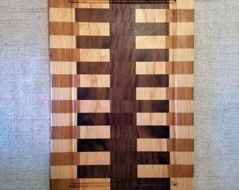 Walnut, Maple and Hickory handmade cutting board