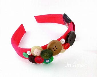 FREE SHIPPING, Multicolor Button Headband, Girls Hair Accessories, Girl Head Band, Hard Headband, Hair Band for girls, Unique design gifts