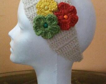 Headband / Headband color three Ivory flowers in combi