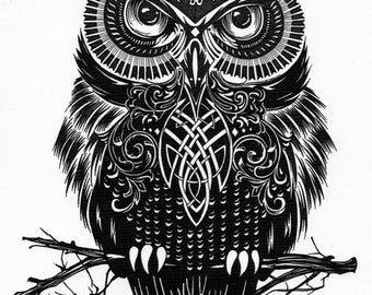 OWL bird birds of happiness temporary temporary adhesive once tattoo 15 x 21 cm HB301