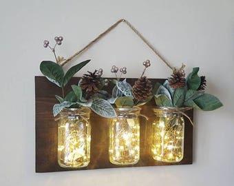 Mason Jar Flower Holder- WITH LIGHTS