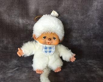 White vintage monkey stuffie monchichi