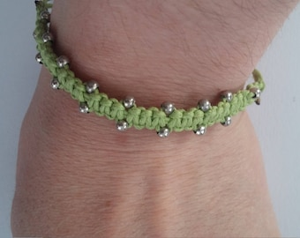 Silver beads green cord bracelet