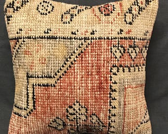 Bohemian Faded Pillow, Boho Pillow, Handmade Pillow Cover, Ethnic Pillow, Turkish Pillow, Vintage Pillow, Boho Pillow, Faded Rug Pillow