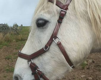Brown PONY  Biothane Micklem style bridle bitless sidepull size PONY with reins