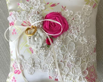 Pink and Ivory Silk Ring Bearer Pillow