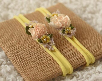 newborn yellow stretch headband props