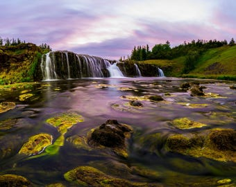 Icelandic Waterfall during Sunset, Digital Download