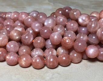 7.5-8mm Orange Sunstone Gemstone Round 7.5-8mm Loose Beads 15.5 inch Full Strand, Sunstone Beads