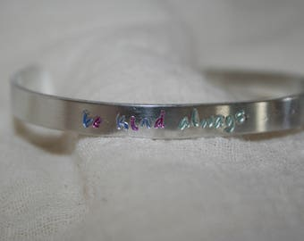 Dainty Small Impressed Be Kind Always Silver Bracelet