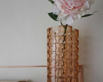 Blush pink glass vintage vase