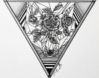 Giclee Print 8x8 in. Originally Pen & Ink on paper. - wolf. rose. giclee. print. balack and white. art.