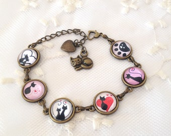 Love cats cameo Bracelet.