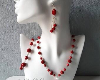 Red Marble Gemstones Sterling Silver Jewelry Set Necklace Bracelet Earrings Red Jewelry Set