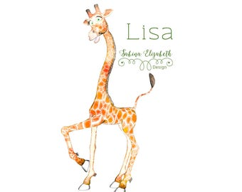 Giraffe Lisa 3, beige, Watercolor Clipart, Baby, Child, Fun, Craft