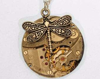 Silver Dragonfly Vintage Watch Necklace