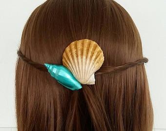 Gold and Teal Seashell Hair Clip, Mermaid Barrette, Mermaid Hair