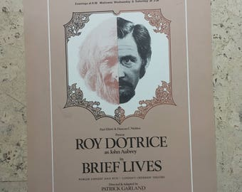 """Free shipping. """"Brief Lives"""". Roy Dotrice. 1970s theatre poster."""