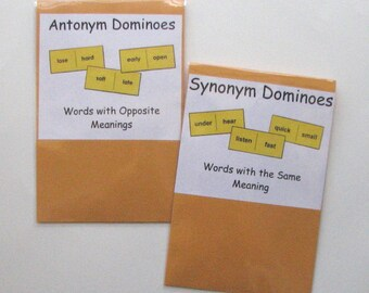 2 Teacher Made Literacy Centers Resource Games Synonym & Antonym Dominoes