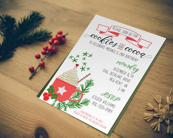Cookies & Cocoa Birthday Party Invitation | Customizable | Printable | Birthday Invites | Holiday Birthday Party | Winter Birthday Party