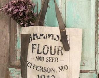 Vintage Flour Sack Tote Bag Purse Farm Girl Shabby Chic Country Boho