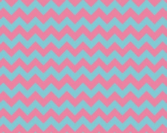Chevron Aqua/Pink Small Cotton Fabric - Riley Blake Fabrics - Perfect for Nursery, Clothing, and Quilts