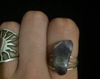 Bohemian purple wire ring