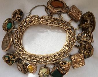 Antique Victorian 12k GF Gold CHARM Locket Fob BRACELET