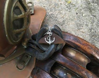 Anchor beach glass necklace