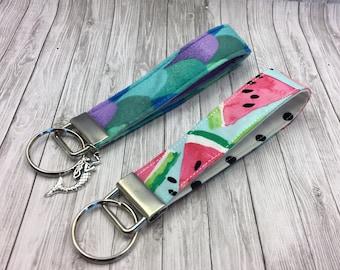 CUSTOM MADE Mermaid/Pineapple/Cactus/Watermelon Keychain, Key Fob, Wristlet Keychain, Wristlet Key Fob