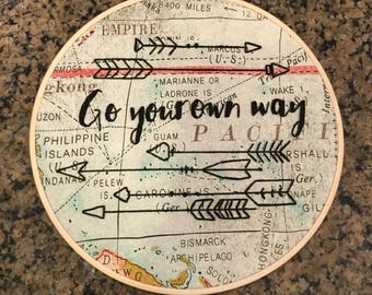 Go your own way embroidered hoop