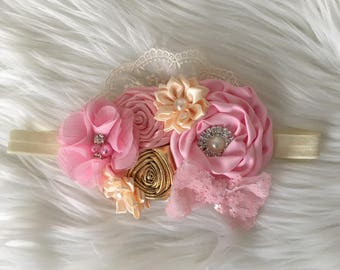 Sweet pink and gold headband