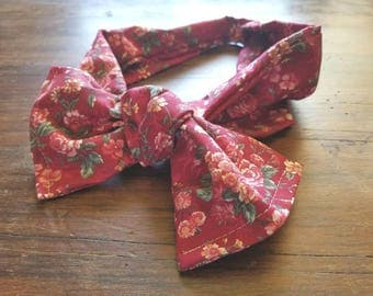 Red floral tie fabric headband headscarf bow knot