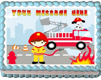 FIREMAN Firetruck edible cake topper party image